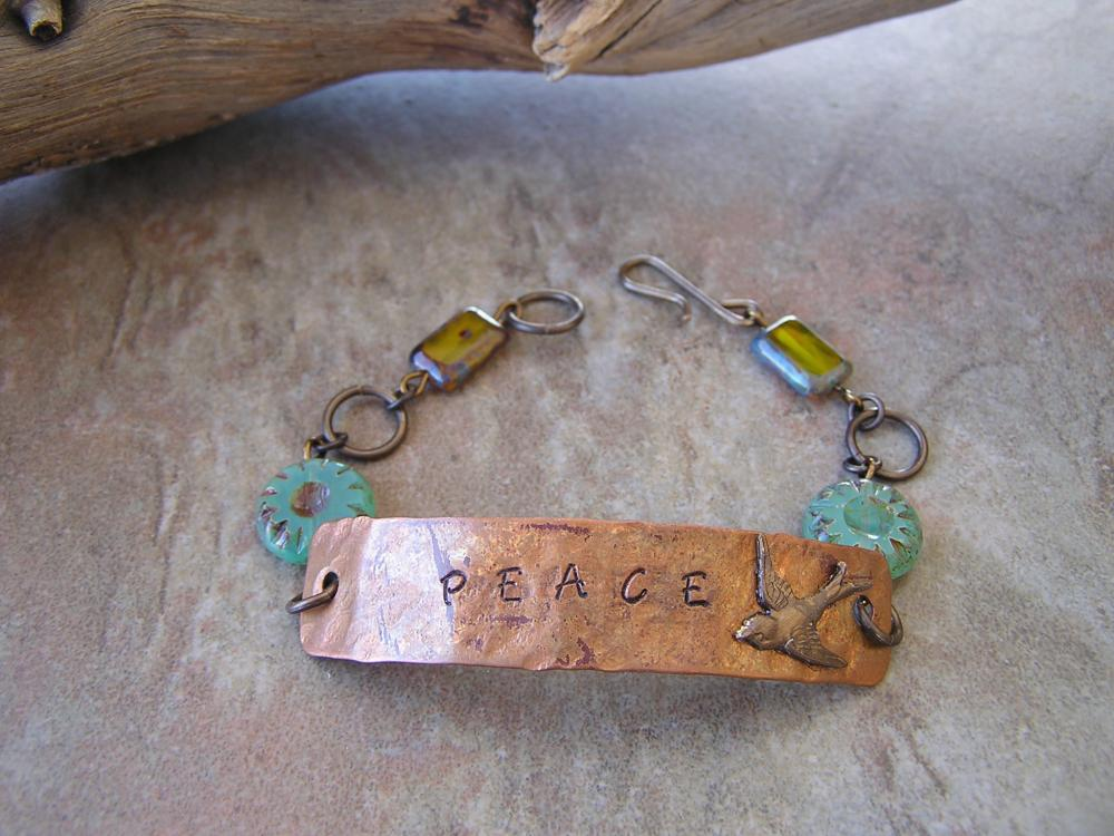 OOAK Copper Bracelet - Peace Bracelet